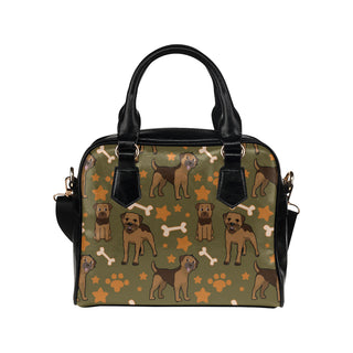 Border Terrier Pattern Shoulder Handbag - TeeAmazing