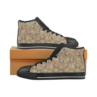 Whippet Black Women's Classic High Top Canvas Shoes - TeeAmazing