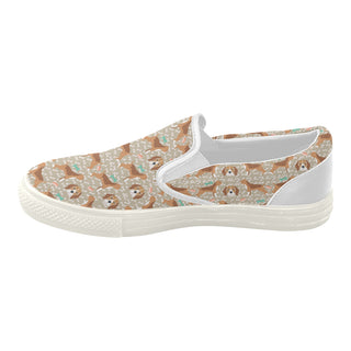 Beagle Pattern White Women's Slip-on Canvas Shoes (Model 019) - TeeAmazing