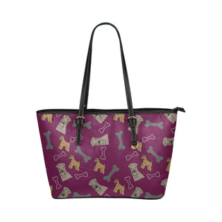 Soft Coated Wheaten Terrier Leather Tote Bag/Small (Model 1651) - TeeAmazing