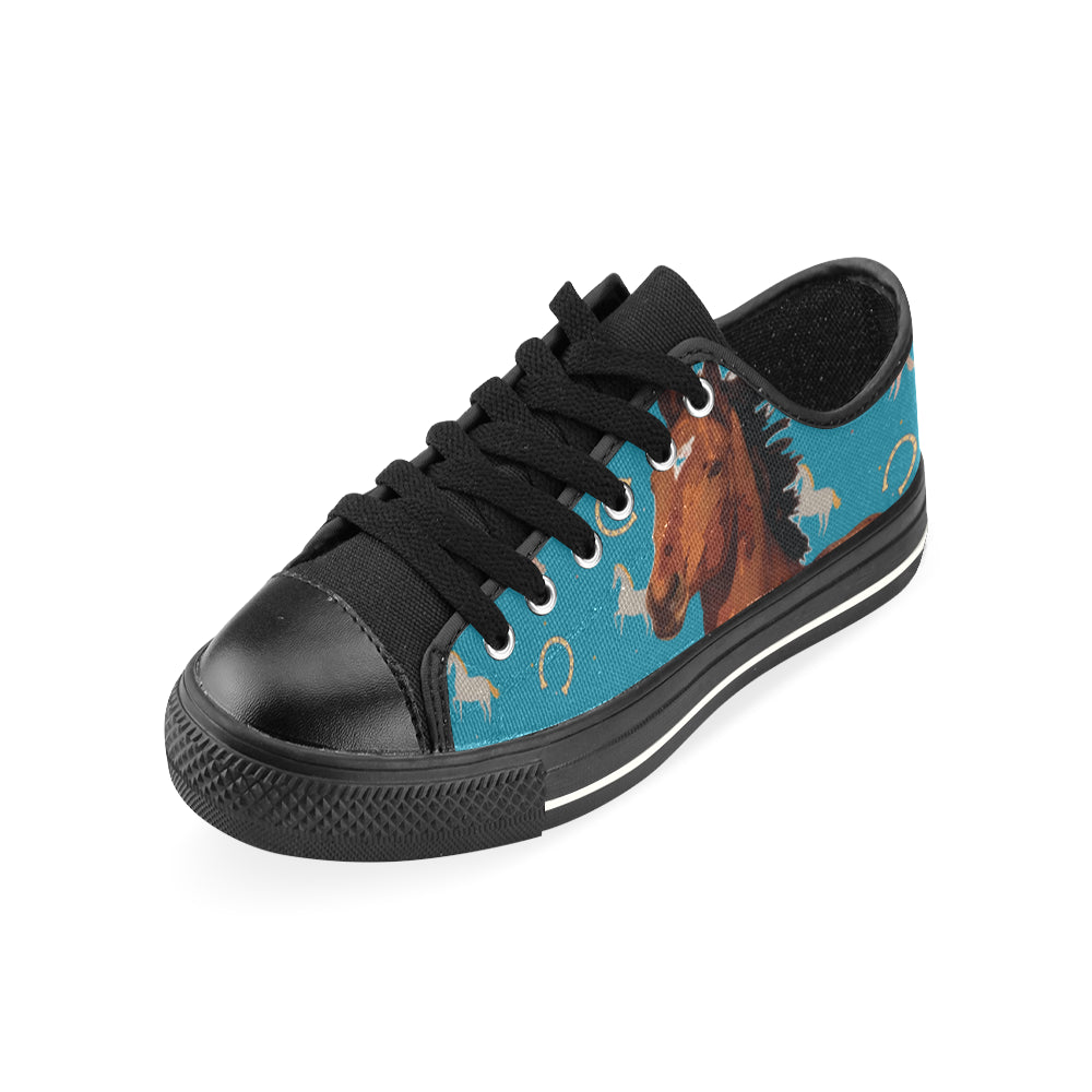 Horse Black Canvas Women's Shoes/Large Size - TeeAmazing
