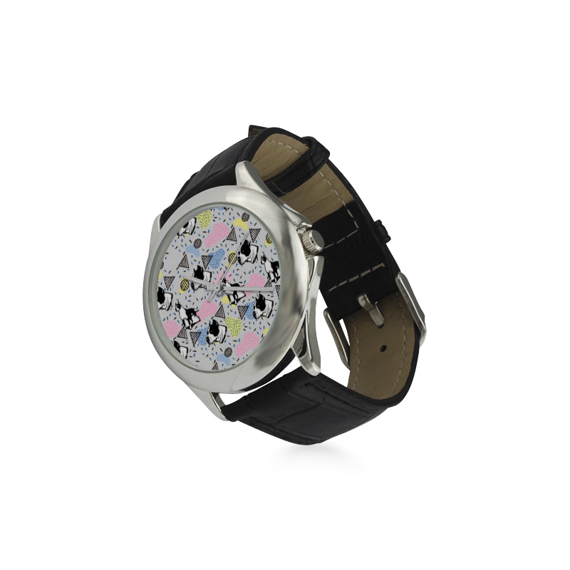 American Staffordshire Terrier Pattern Women's Classic Leather Strap Watch - TeeAmazing