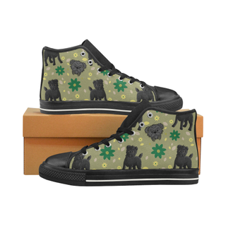 Affenpinschers Flower Black High Top Canvas Women's Shoes/Large Size (Model 017) - TeeAmazing