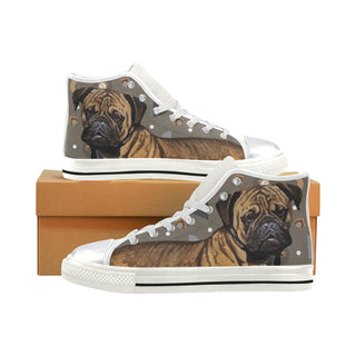 Bullmastiff Dog White Women's Classic High Top Canvas Shoes - TeeAmazing