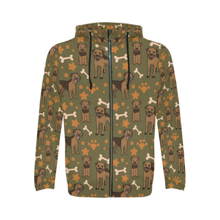 Border Terrier Pattern All Over Print Full Zip Hoodie for Men - TeeAmazing