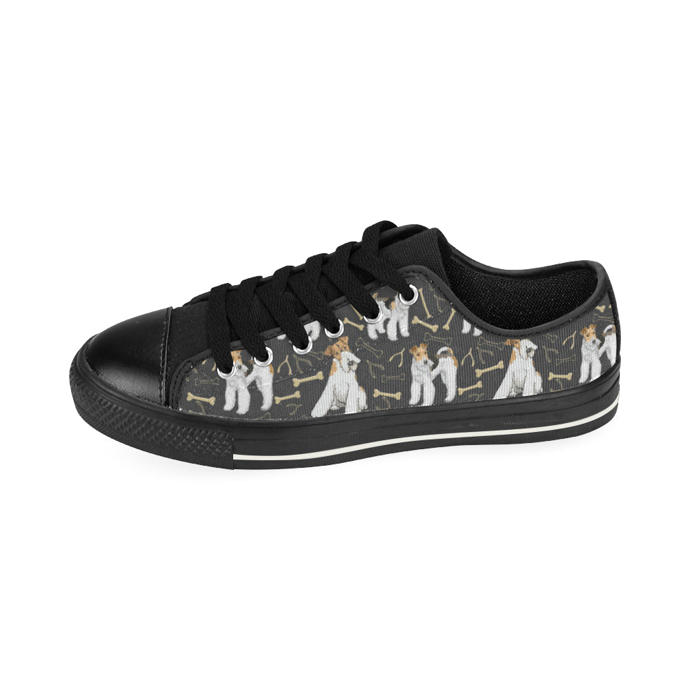 Wire Hair Fox Terrier Black Men's Classic Canvas Shoes - TeeAmazing