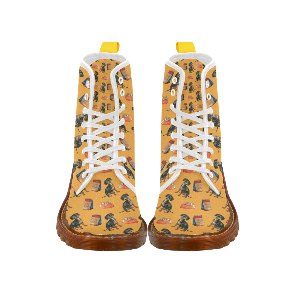 Dachshund Water Colour Pattern No.1 White Boots For Women - TeeAmazing