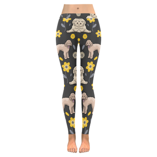 Goldendoodle Flower Low Rise Leggings (Invisible Stitch) (Model L05) - TeeAmazing