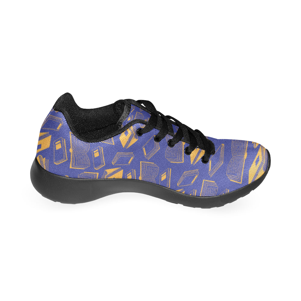 Book Pattern Black Sneakers Size 13-15 for Men - TeeAmazing