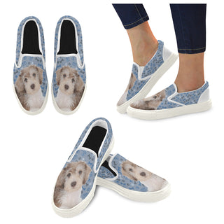 Schnoodle Dog White Women's Slip-on Canvas Shoes - TeeAmazing