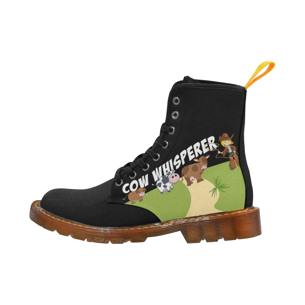 Cow whisperer Black Boots For Women - TeeAmazing