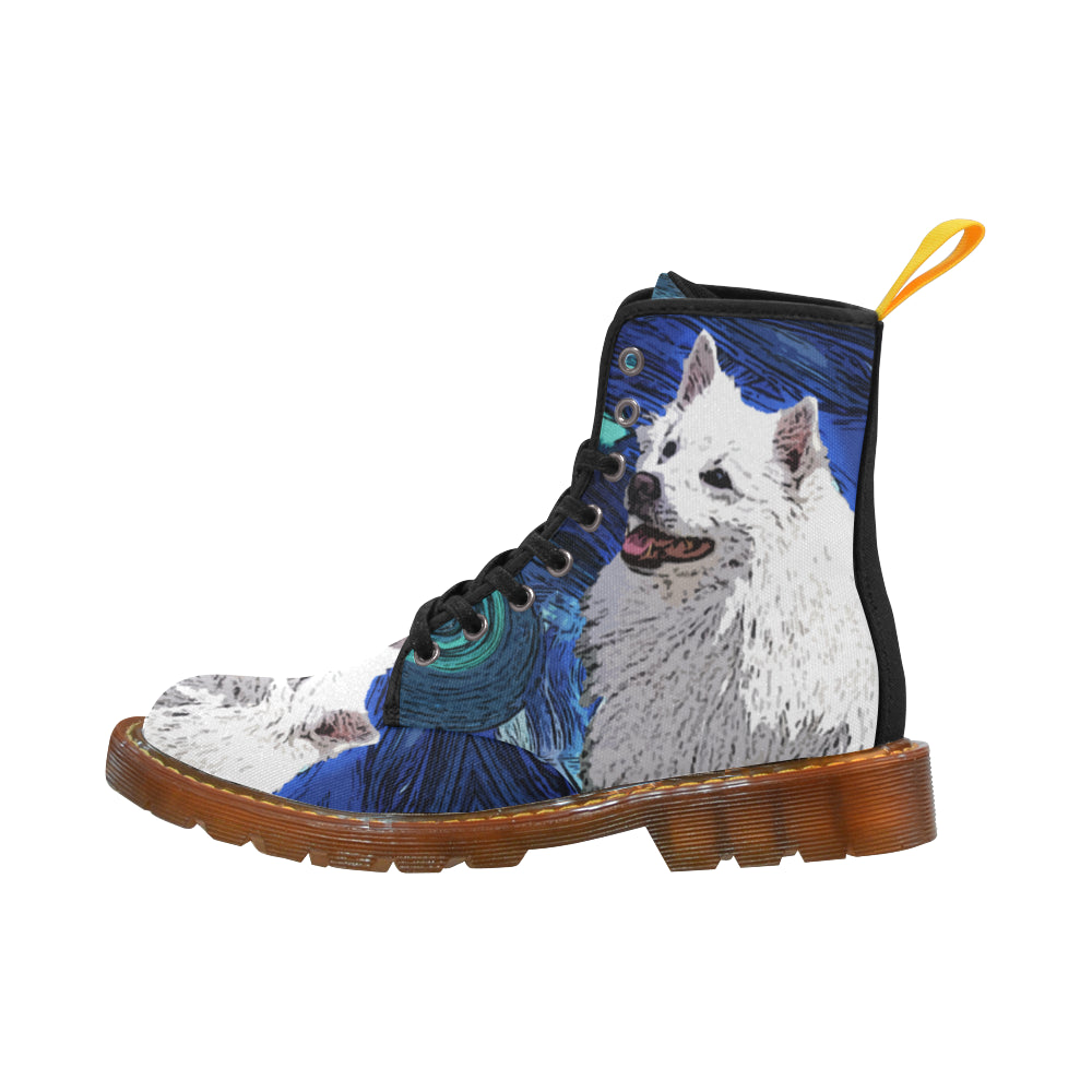 American Eskimo Dog Black Boots For Men - TeeAmazing