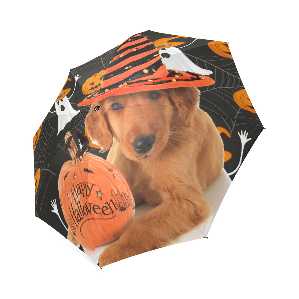 golden retriever halloween foldable umbrella teeamazing