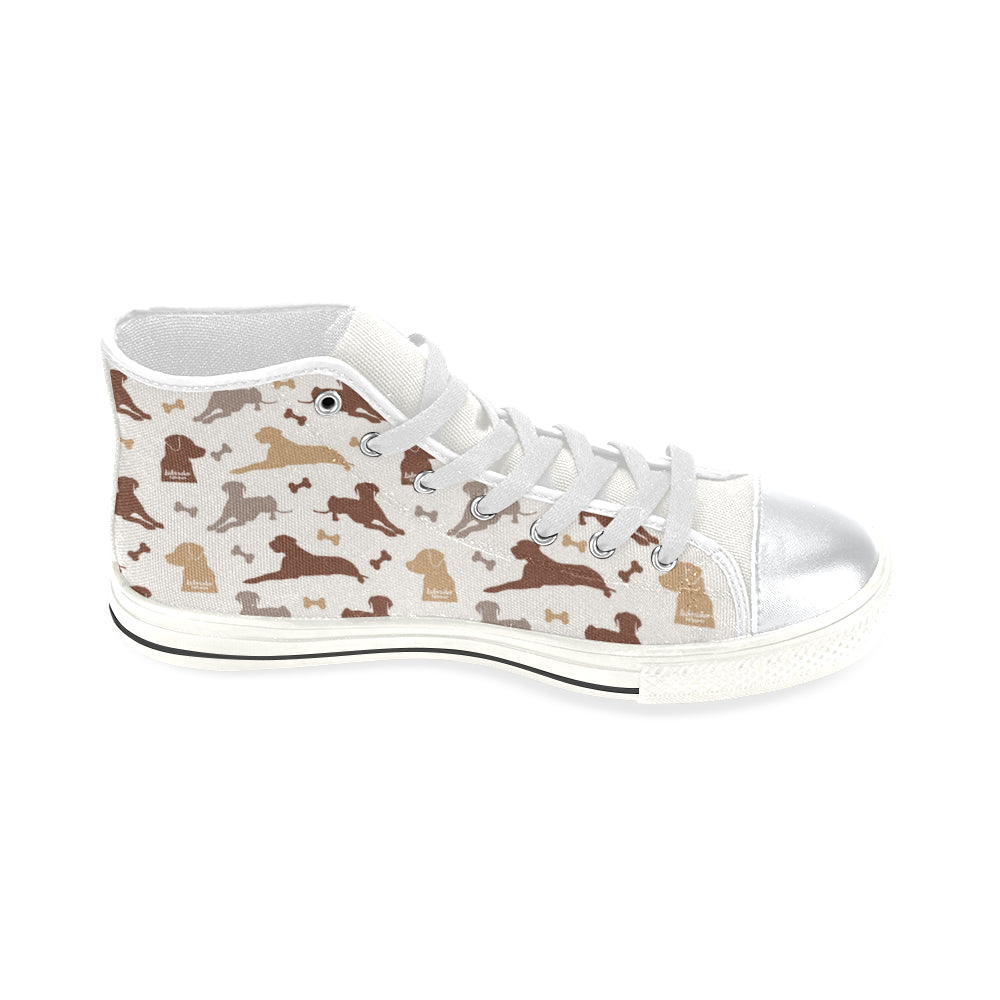 Labrador Retriever Pattern White High Top Canvas Women's Shoes (Large Size) - TeeAmazing