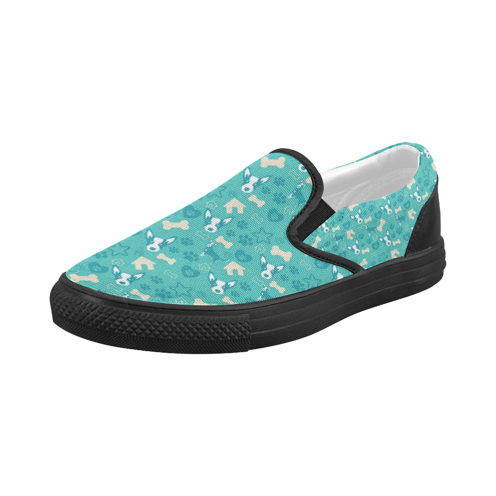 Australian Cattle Dog Pattern Black Women's Slip-on Canvas Shoes (Model 019) - TeeAmazing