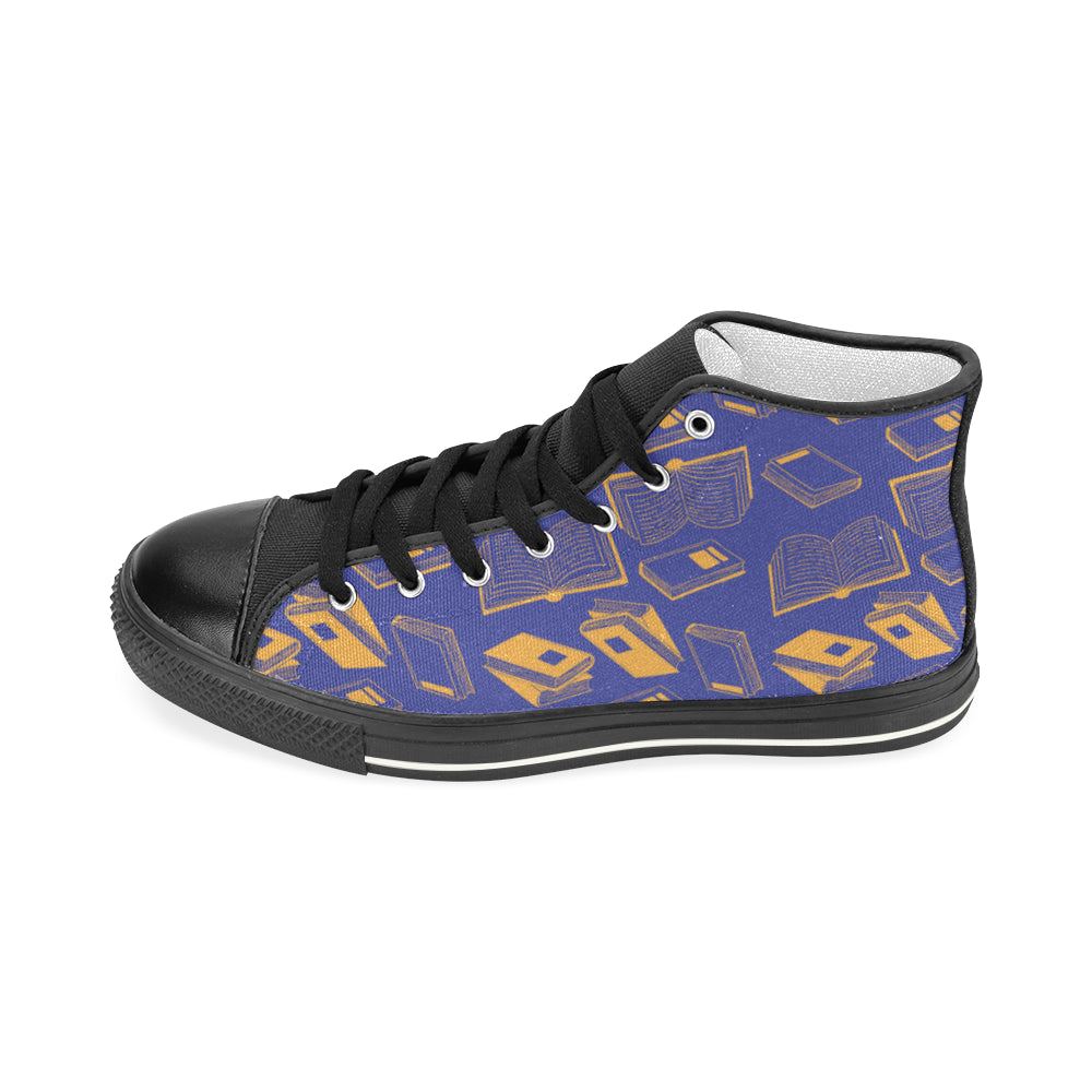 Book Pattern Black Men's Classic High Top Canvas Shoes - TeeAmazing
