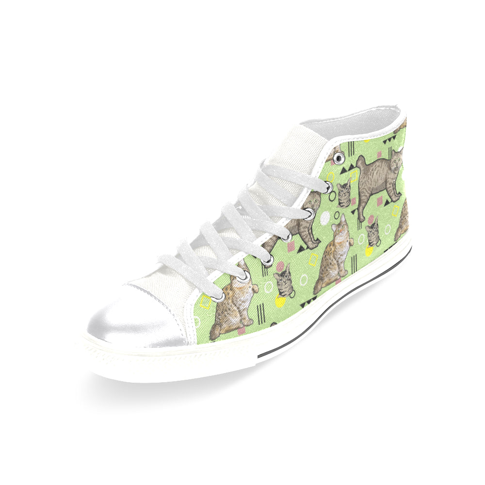 American Bobtail White Women's Classic High Top Canvas Shoes - TeeAmazing