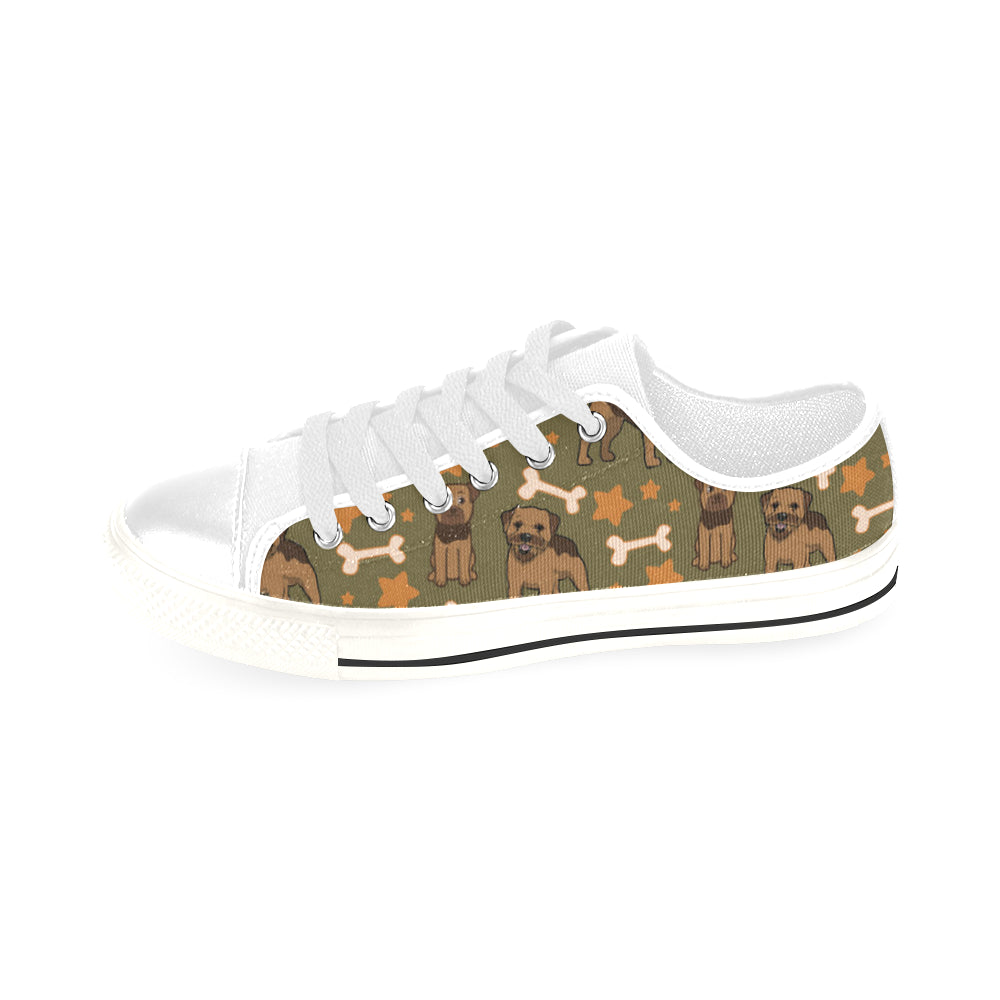 Border Terrier Pattern White Men's Classic Canvas Shoes/Large Size - TeeAmazing