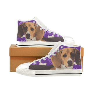 Beagle White Men's Classic High Top Canvas Shoes (Model 017) - TeeAmazing