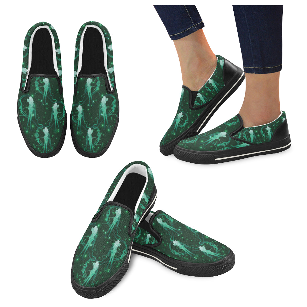 Sailor Neptune Black Women's Slip-on Canvas Shoes/Large Size (Model 019) - TeeAmazing
