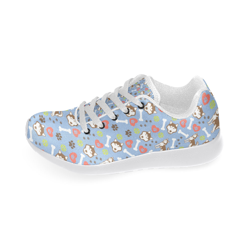 Alaskan Malamute Pattern White Sneakers for Men - TeeAmazing