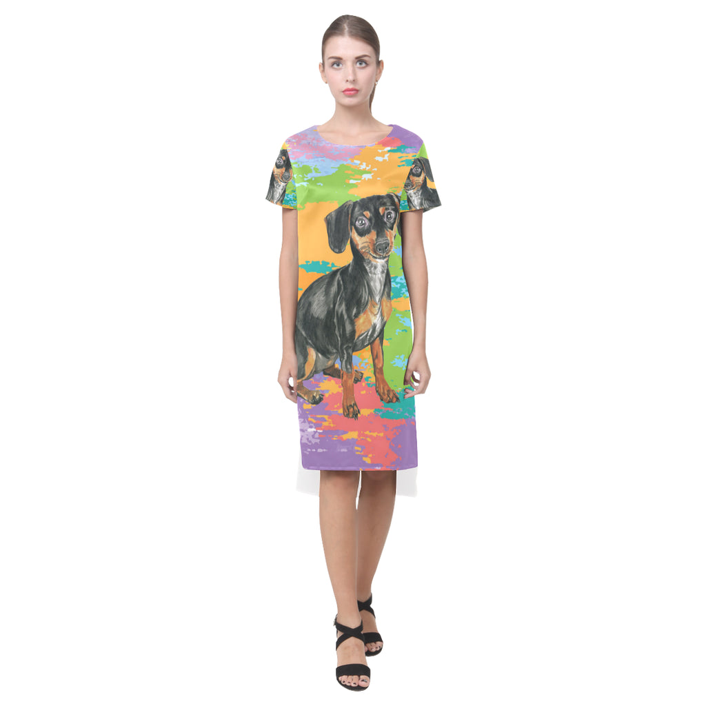 Dachshund Water Colour No.2 Short Sleeves Casual Dress - TeeAmazing
