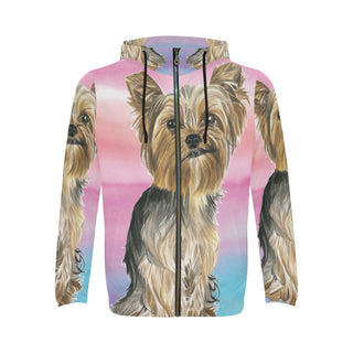 Yorkshire Terrier Water Colour No.2 Men's All Over Print Full Zip Hoodie - TeeAmazing