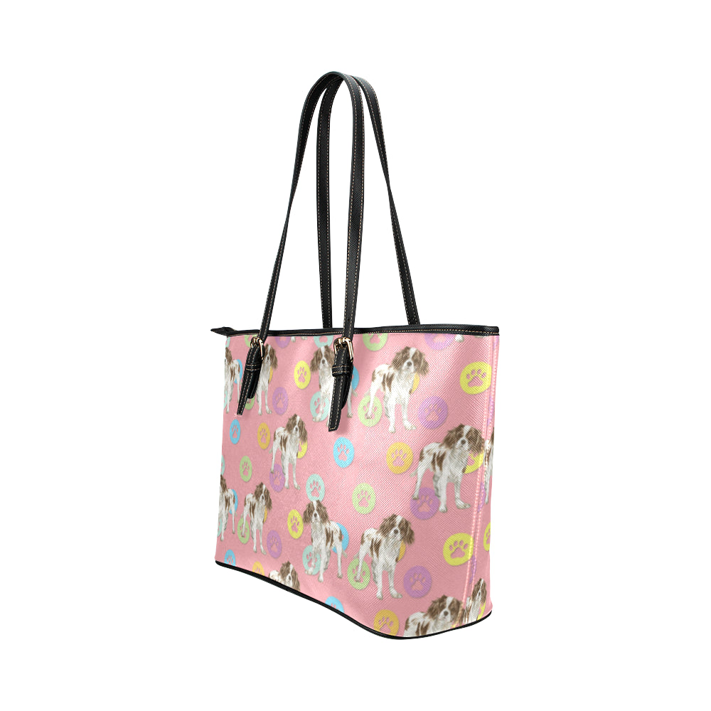 Cavalier King Charles Spaniel Water Colour Pattern No.1 Leather Tote Bag/Small - TeeAmazing