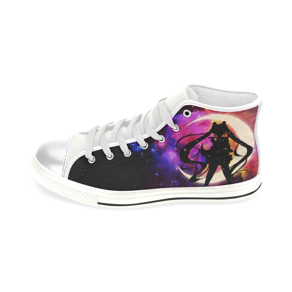 Sailor Moon White High Top Canvas Shoes for Kid - TeeAmazing