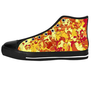 Fire Type Shoes & Sneakers - Custom Pokemon Canvas Shoes - TeeAmazing