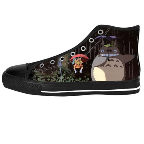 Totoro Umbrella Scene Shoes & Sneakers - Custom Totoro Canvas Shoes - TeeAmazing