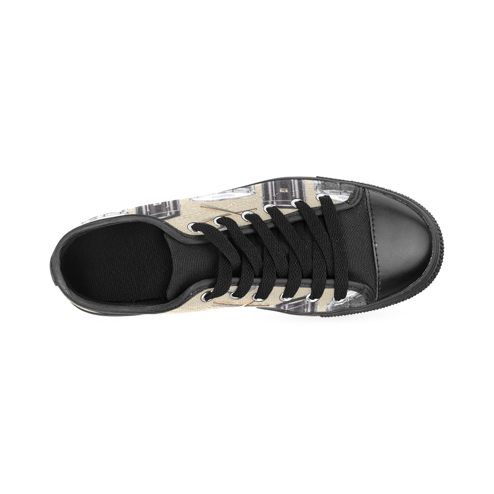 Drum Pattern Black Men's Classic Canvas Shoes/Large Size - TeeAmazing