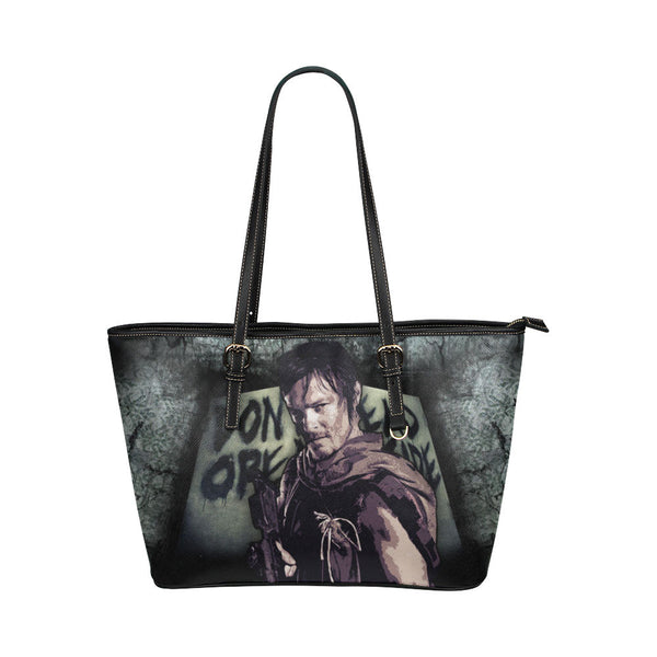 Daryl Dixon (Don't Open - Dead Inside) Leather Tote Bags - The Walking Dead Bags - TeeAmazing - 1