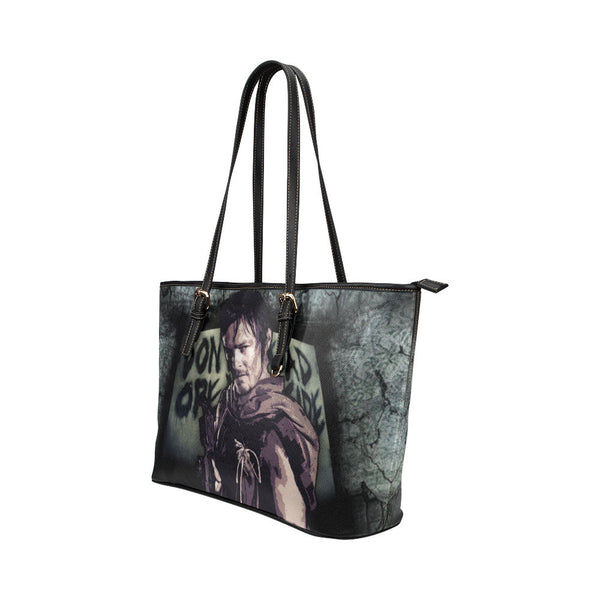 Daryl Dixon (Don't Open - Dead Inside) Leather Tote Bags - The Walking Dead Bags - TeeAmazing - 2