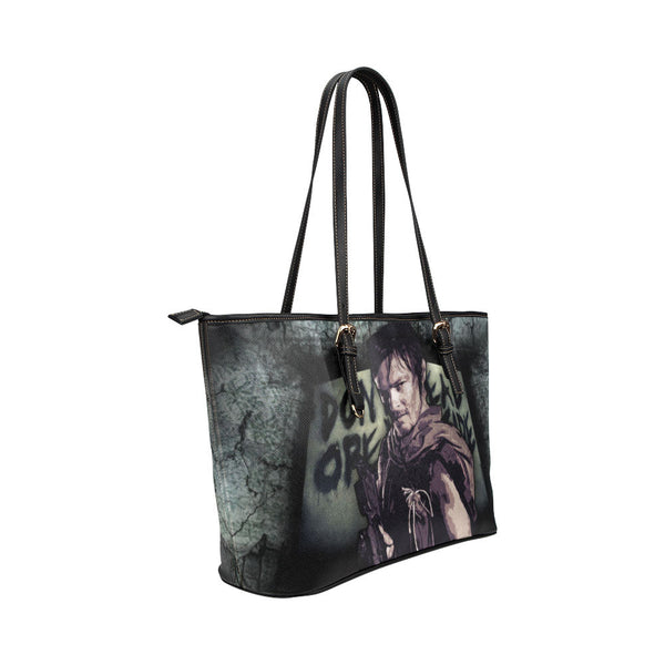 Daryl Dixon (Don't Open - Dead Inside) Leather Tote Bags - The Walking Dead Bags - TeeAmazing - 4