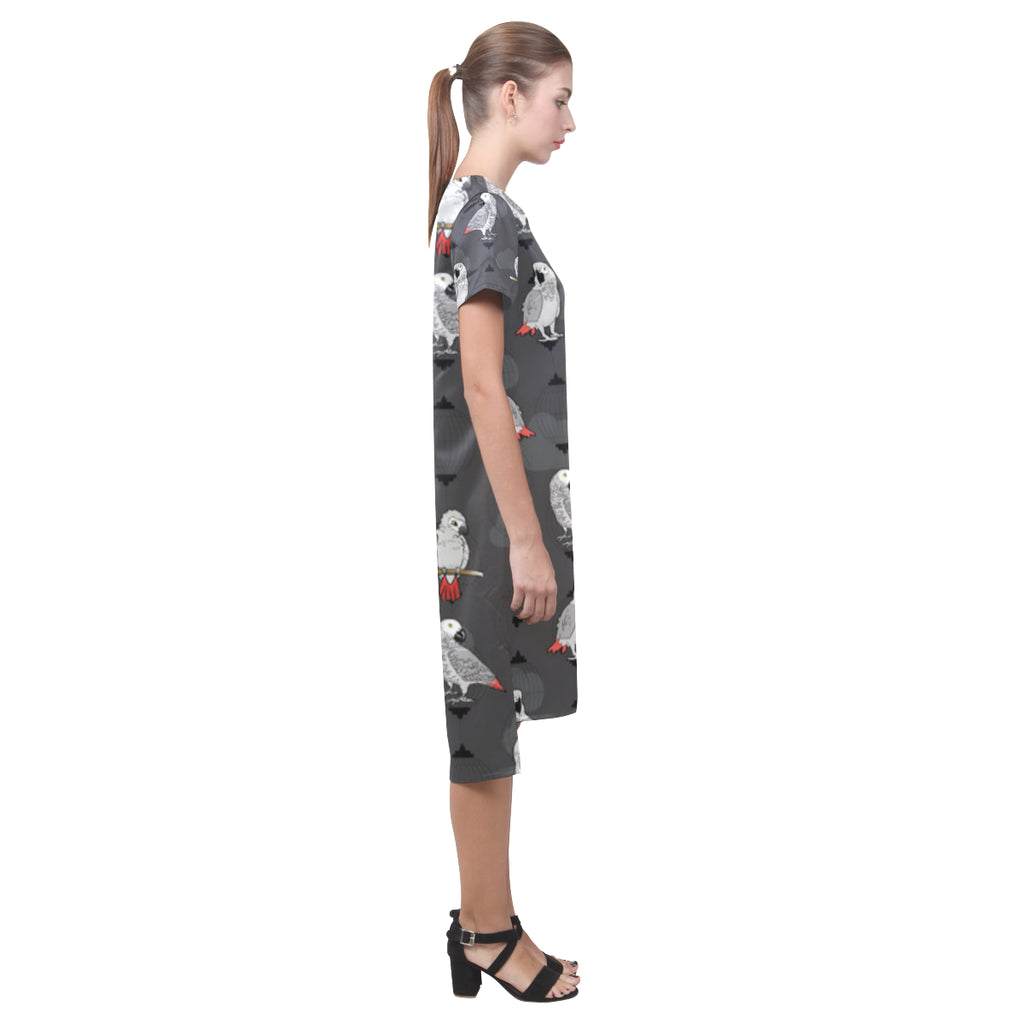 African Greys Short Sleeves Casual Dress - TeeAmazing