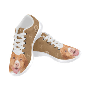 Nova Scotia Duck Tolling Retriever Dog White Men's Running Shoes/Large Size (Model 020) - TeeAmazing