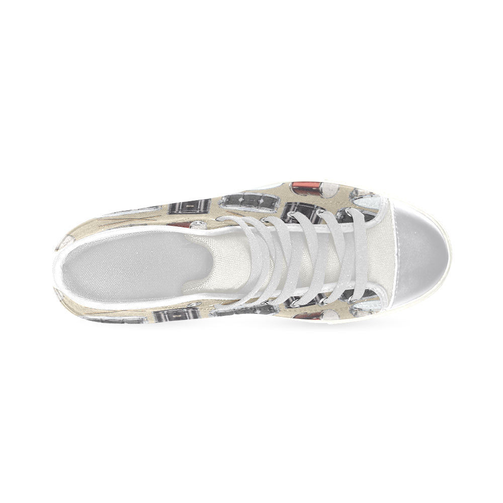 Drum Pattern White Women's Classic High Top Canvas Shoes - TeeAmazing