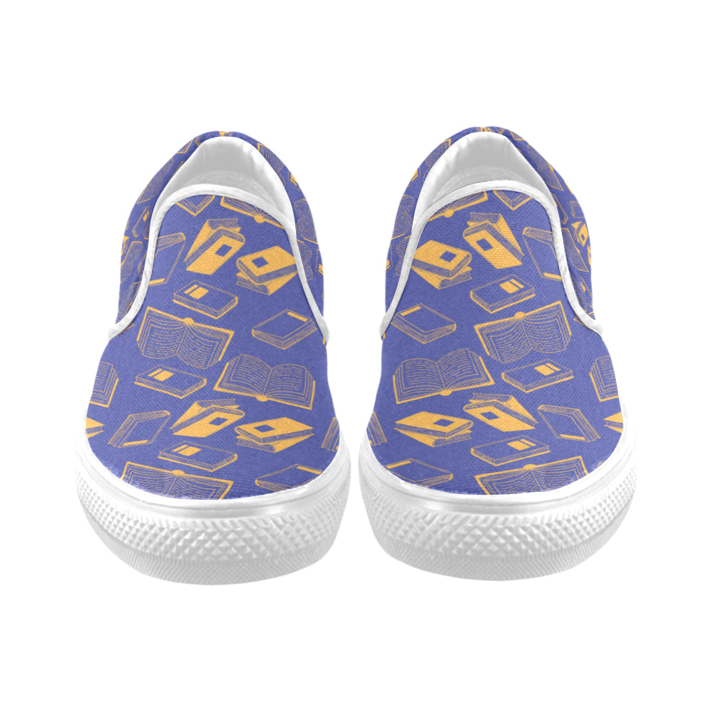 Book Pattern White Women's Slip-on Canvas Shoes - TeeAmazing