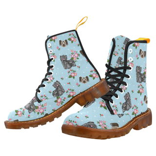 Skye Terrier Flower Black Martin Boots For Women Model 1203H - TeeAmazing