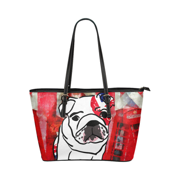 English Bulldog Leather Tote Bags - English Bulldog Bags - TeeAmazing - 1