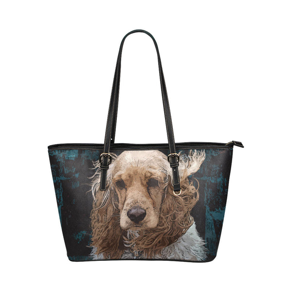English Cocker Spaniel Leather Tote Bags - English Cocker Spaniel Bags - TeeAmazing - 1