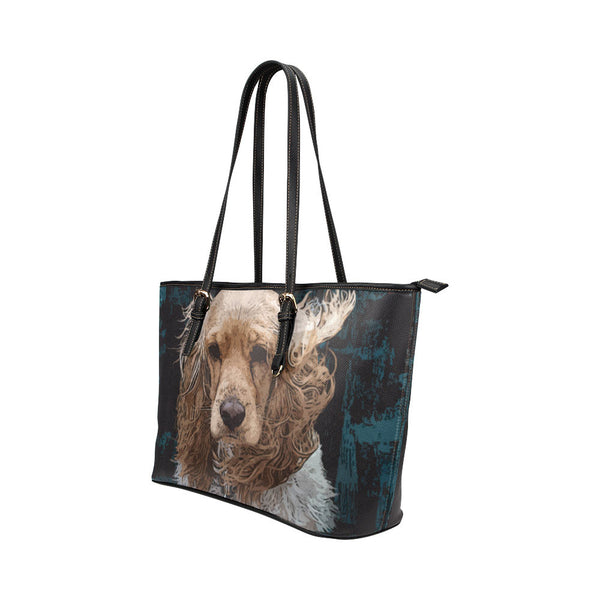 English Cocker Spaniel Leather Tote Bags - English Cocker Spaniel Bags - TeeAmazing - 2