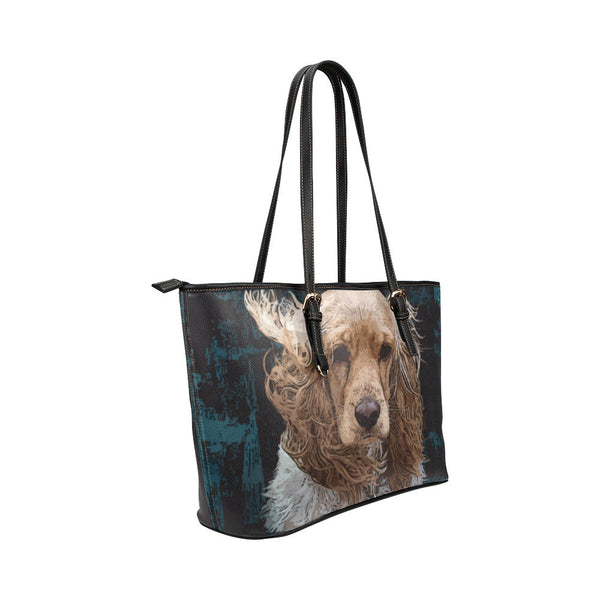 English Cocker Spaniel Leather Tote Bags - English Cocker Spaniel Bags - TeeAmazing - 4