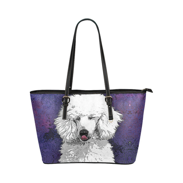 Poodle Dog Leather Tote Bags - Poodle Bags