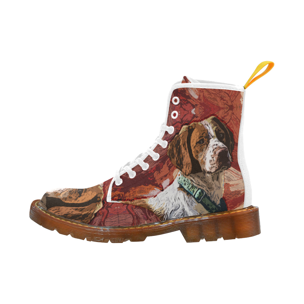 Brittany Spaniel Painting White Boots For Men - TeeAmazing