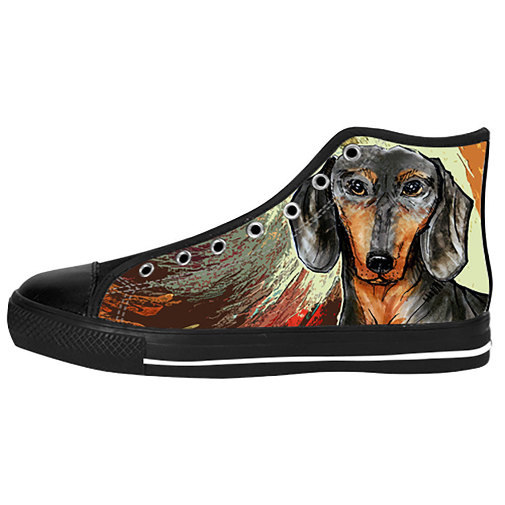 Dachshund Painting Shoes & Sneakers - Custom Dachshund Canvas Shoes -  TeeAmazing