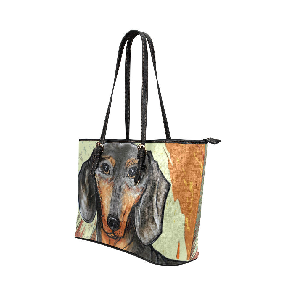 Dachshund Painting Leather Tote Bags - Dachshund Bags - TeeAmazing