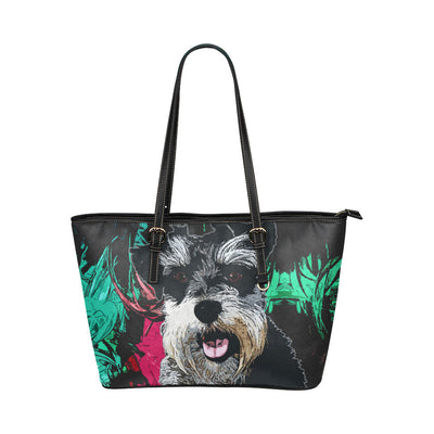 Miniature Schnauzer Leather Tote Bags - Miniature Schnauzer Bags - TeeAmazing