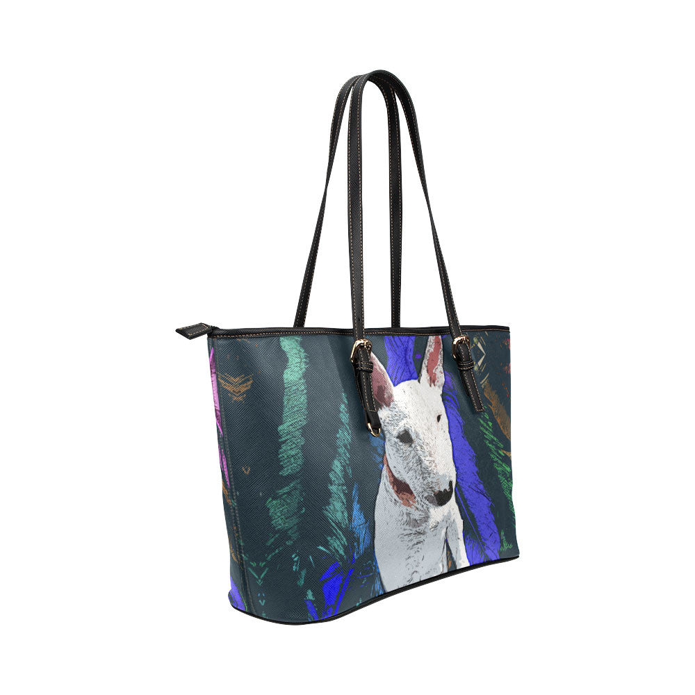 Bull Terrier Leather Tote Bags - Bull Terrier Bags - TeeAmazing